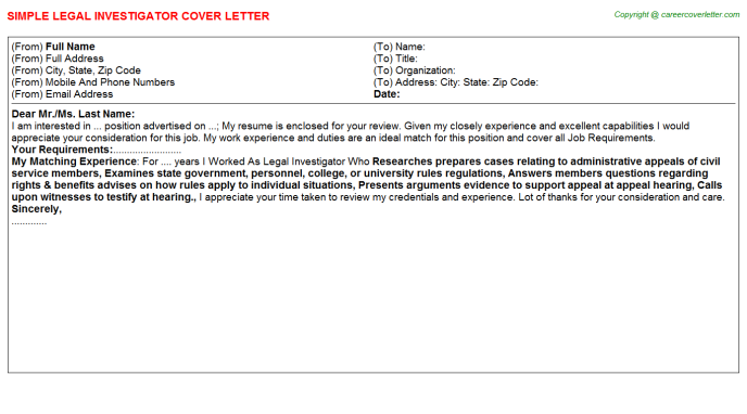 legal investigator cover letters
