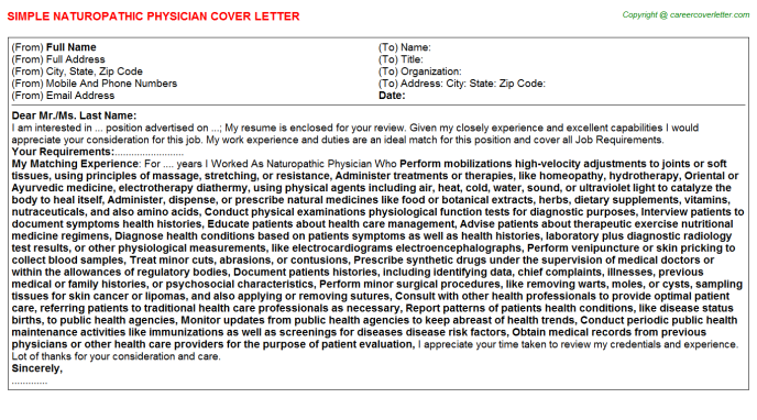 Naturopathic Physician Cover Letter