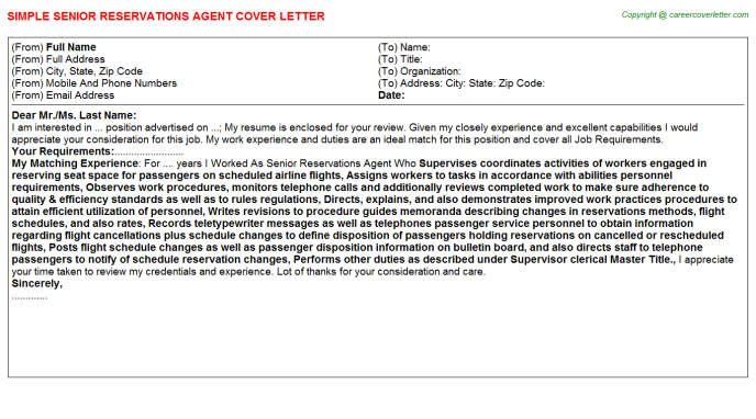 Senior Reservations Agent Cover Letter Template