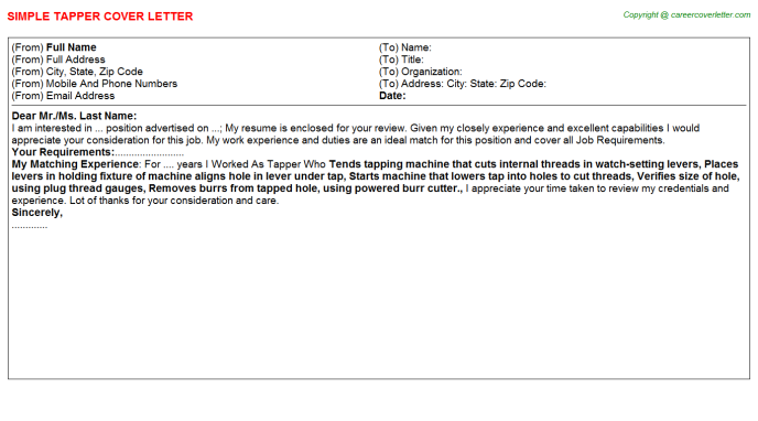 Tapper Cover Letter Template