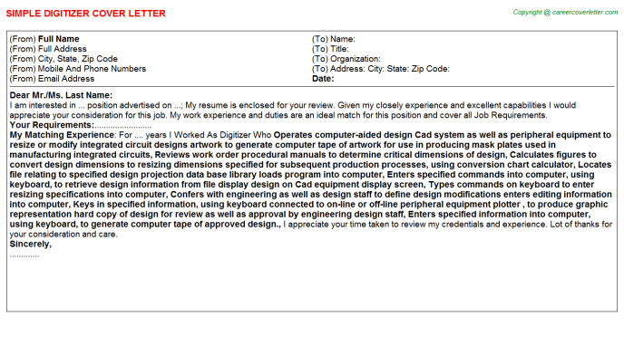 Digitizer Cover Letter Template