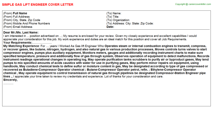 Gas Lift Engineer Cover Letter Template