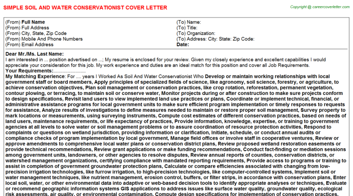 Soil And Water Conservationist Cover Letter Template