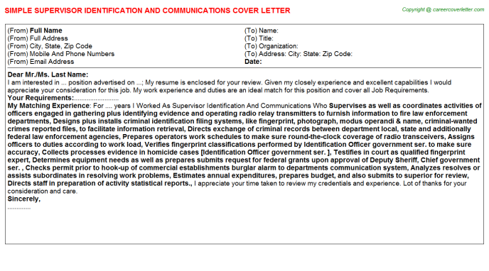 Supervisor Identification And Communications Job Cover Letter Template