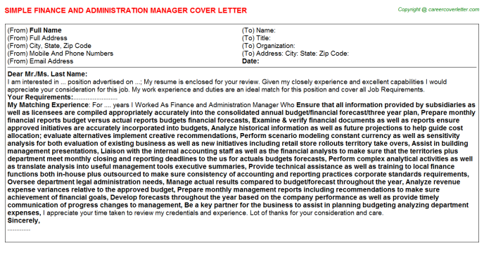 Finance And Administration Manager Job Cover Letter