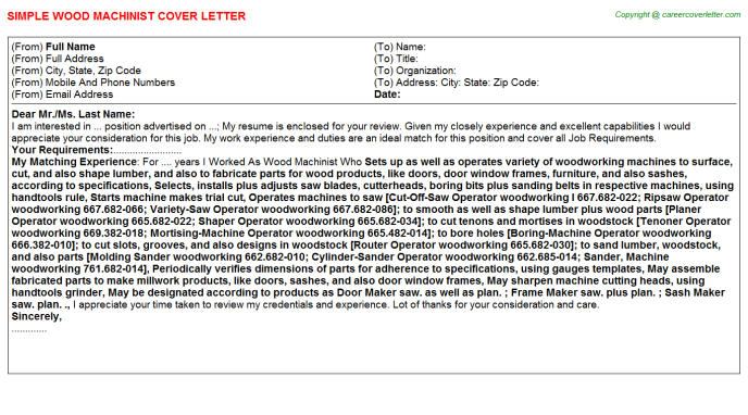 wood machinist cover letter template