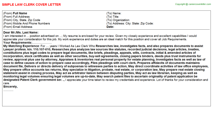 Law Clerk Job Cover Letter Template