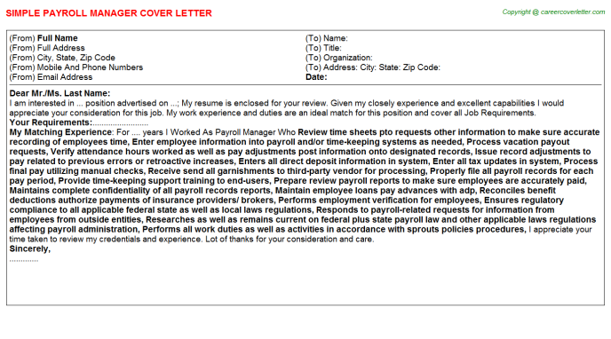 Payroll Manager Cover Letter Template
