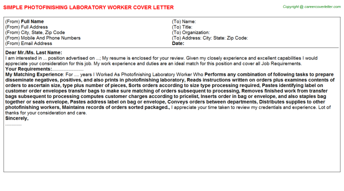 Photofinishing Laboratory Worker Job Cover Letter Template