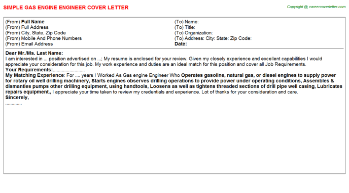 Gas Engine Engineer Cover Letter Template