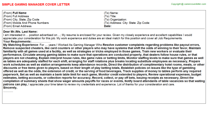 Gaming Manager Job Cover Letter | Cover Letters