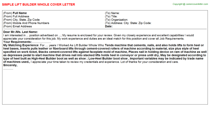Lift Builder Whole Job Cover Letters Examples