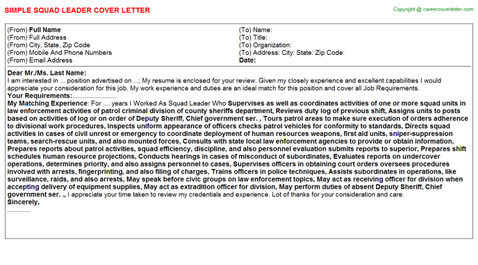 squad leader cover letter template