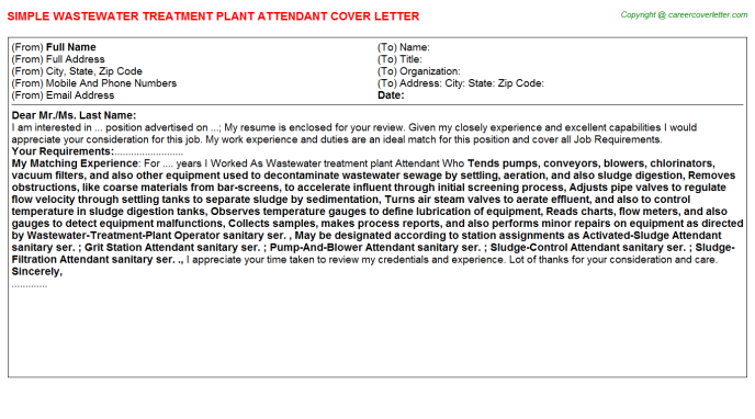 Wastewater Treatment Plant Attendant Cover Letter Template