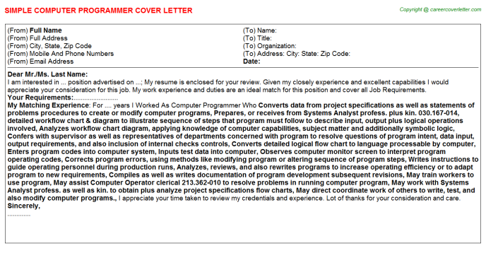 Computer Programmer Cover Letter Template