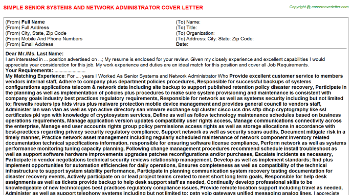 senior systems and network administrator cover letter template