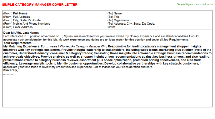 Category Manager Cover Letter Template