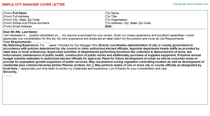 City Manager Job Cover Letter Example