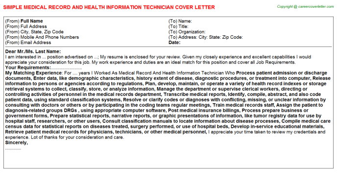 Medical Record And Health Information Technician Job Cover Letter