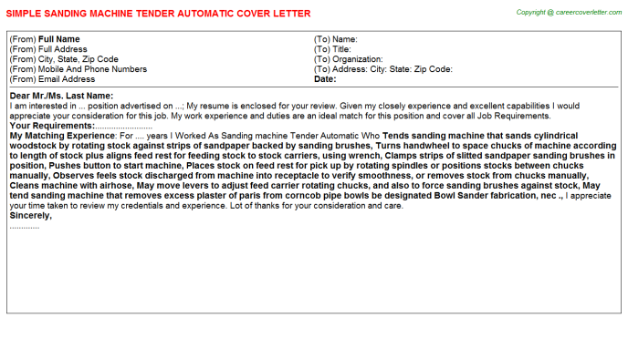 Sanding machine Tender Automatic Cover Letter Template