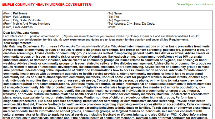 Community Health Worker Cover Letter