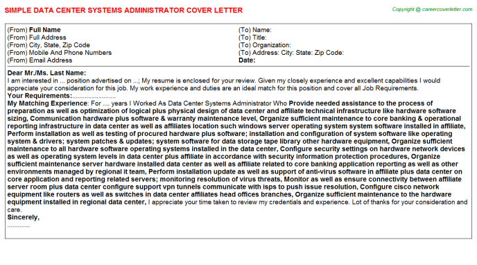 Data Center Systems Administrator Job Cover Letter Example