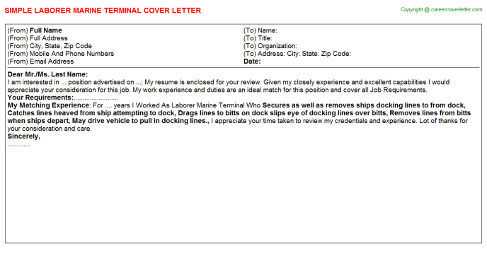 Laborer Marine Terminal Cover Letter Template