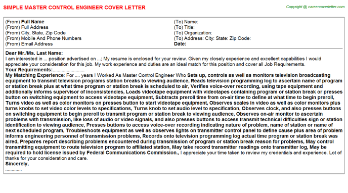 master control engineer cover letter template