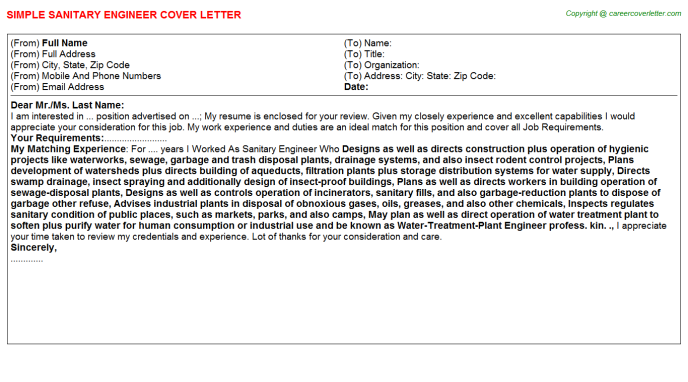 Sanitary Engineer Job Cover Letters Examples