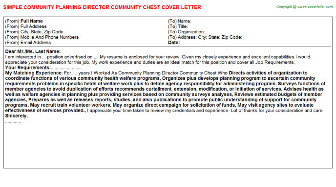 Community Planning Director Community Chest Cover Letter Template
