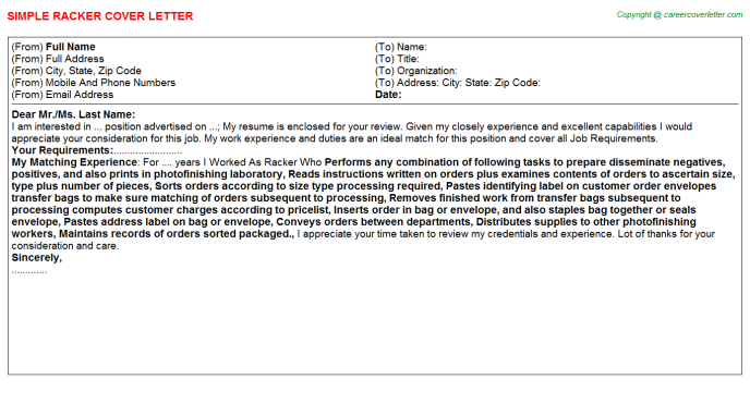 Racker Cover Letter Template
