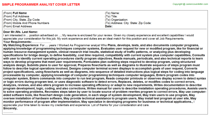 programmer analyst cover letter template