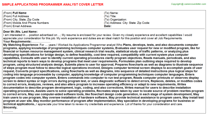 applications programmer analyst cover letter template