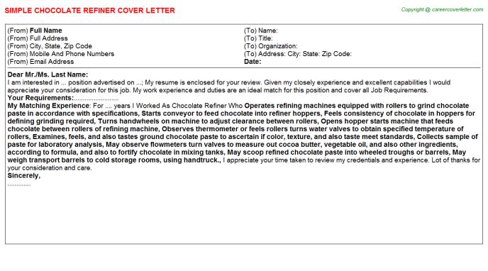 chocolate refiner cover letter template