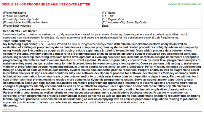 senior programmer analyst cover letter template