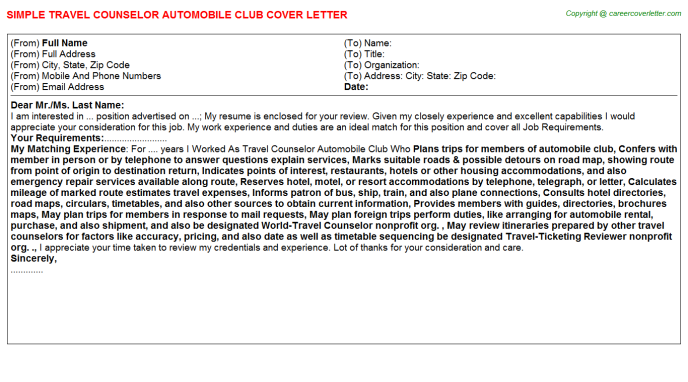 Travel Counselor Automobile Club Cover Letter Template