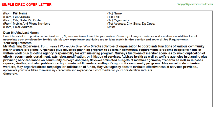 Direc Cover Letter Template