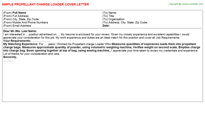 Propellant Charge Loader Cover Letter Template