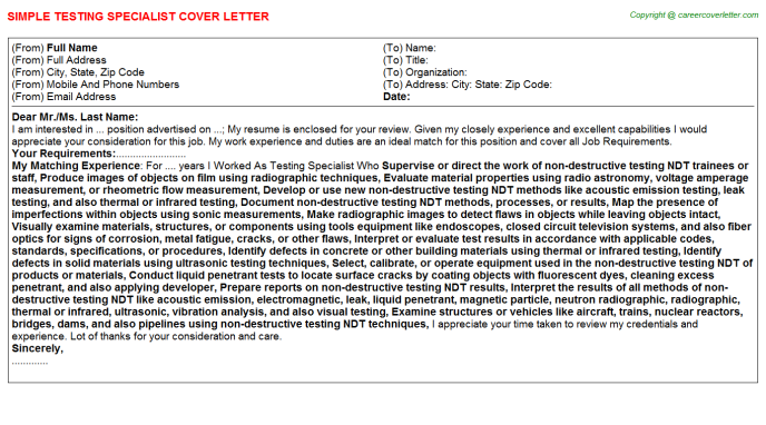 Testing Specialist Cover Letters