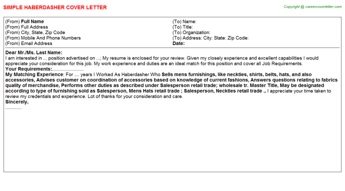 Haberdasher Job Cover Letter Template