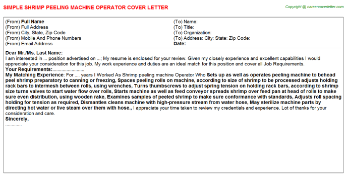 shrimp peeling machine operator cover letter template
