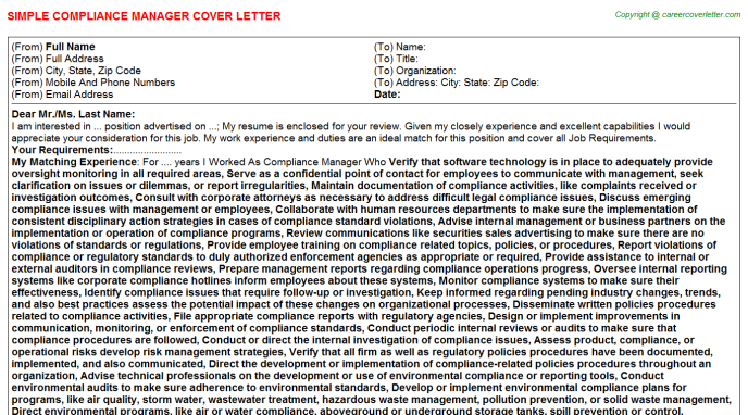Compliance Manager Cover Letter Template