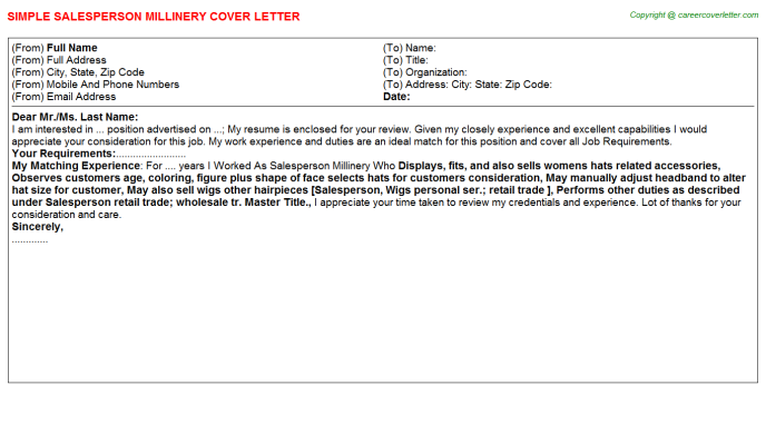 Salesperson Millinery Cover Letter Template