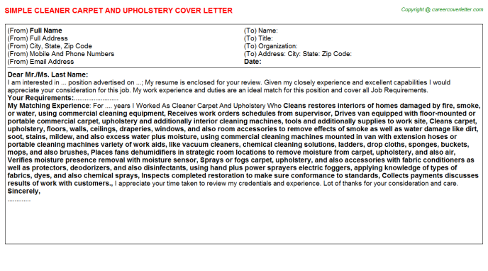 Cleaner Carpet And Upholstery Job Cover Letter Template