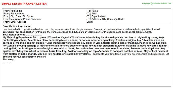 Keysmith Cover Letter Template