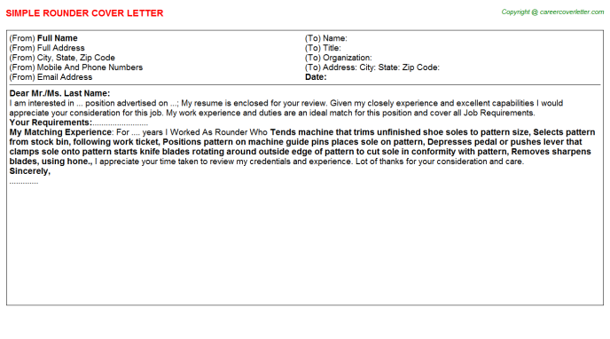 Rounder Job Cover Letter Template