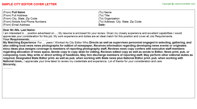 City Editor Job Cover Letter Sample