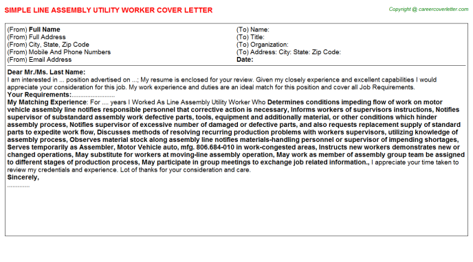 Line Assembly Utility Worker Job Cover Letter