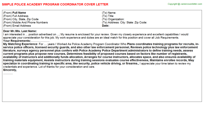 Police Academy Program Coordinator Cover Letter Template