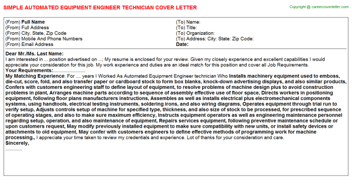 Automated Equipment Engineer Technician Job Cover Letter Sample